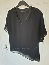 96bcb06afae2d Jacques Vert Black Short Sleeved Sheer Top Size 14 Bead Detailing