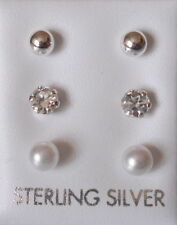 Simulated Stud Sterling Silver Fine Earrings