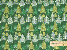 Seasons Greetings 2016 Green Trees Christmas Fabric by the 1/2 Yard #62116
