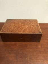 Vintage Wooden Jewellery Trinket Box with burl Wood Veneer