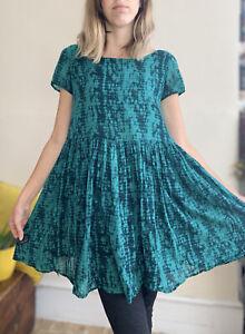 Beautiful Bash Ba&sh 100% Cotton Dress 0 Uk 8 10 Wide Cut Emerson's Green Print