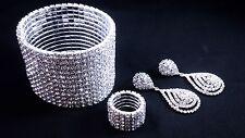 Simply Elegant Set Ring Bracelet Earrings Clear Crystal Wedding Fitness Bikini