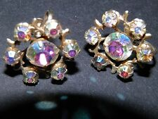weiss aurora rhinestone   screw back earrings