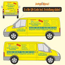 Fahrzeugbeschriftung Transporter (3 Seiten, 2 Farben), incl. 3 x Ihr QR-Code