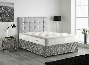 Silver Crushed Velvet Divan Bed Base Wrap Elasticated Pintuck Frame Cover Double