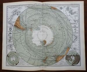 South Pole Southern Hemisphere New Zealand Falklands 1874 Petermann detailed map