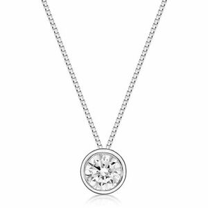 1/2 Carat Lab Grown Diamond Solitaire Pendant Necklace for Women in 10k White Go