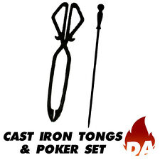 CAST IRON FIRE TONGS AND POKER SET
