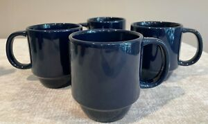 Set of 4 Mainstays Stackables Navy Blue Coffee Mugs Stoneware