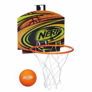 NIB Nerf Sports Nerfoop Orange Blue Basket Ball Mini Over The Door Hoop Set