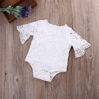 Newborn Infant Baby Girls Lace Floral Bodysuit Romper Jumpsuit Clothes Outfits