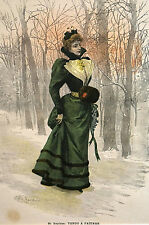 St. Reichan VICTORIAN LADY to ICE SKATING RINK Yendo a Patinar 1900 Print Matted