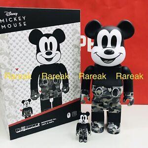 Medicom Be@rbrick 2020 A Bathing Ape Bape Mickey Monotone 400% + 100% bearbrick