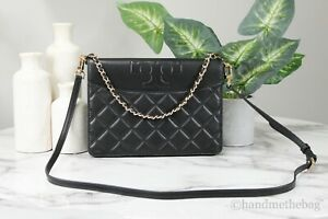 Tory Burch (61501) Savannah Large Black Quilted Smooth Leather Flat Clutch Bag