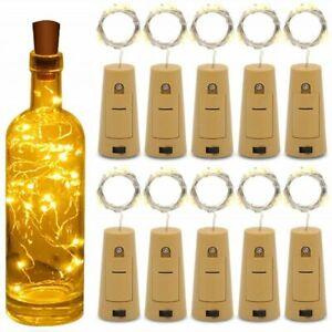 4x Bottle TOP String Lights 20 LED  Fairy Wine Cork Shaped Stopper Light
