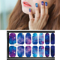 14pcs/Sheet Nail Wraps Full Stickers Flower Starry Sky Decals DIY 077-080