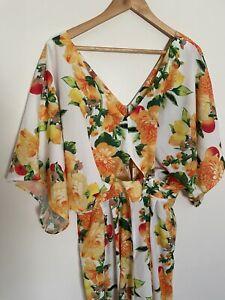 Asos Long Wide Leg Jumpsuit Kimono Sleeve Floral Fruit Size 14 Oranges Lemons