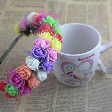 Colorful Rose Flower Crown Festival Headband Wedding Double Row Garland Hairband