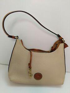 Dooney and Bourke Black Beige Leather Boho Shoulder Bag All Weather Leather