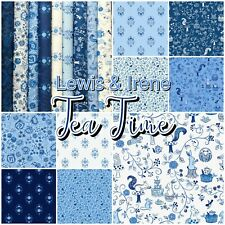 Lewis & Irene TEA TIME Blue Alice Themed Woodland 100% Cotton Patchwork Fabric