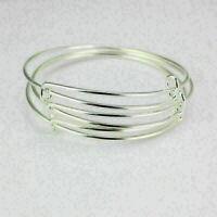 10Pcs erweiterbar Silber Armreif Armband Draht einstellbar umwickelt Bulk N B8N5