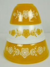 Pyrex Butterfly Gold Set of Three Cinderella Nesting Vintage Bowls 401 402 403