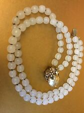 Vintage Miriam Haskell Glass Necklace w/Baroque Pearl Pendant,Circa 1950,marked