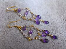 EARRINGS gold 925 sterling silver AMETHYST gemstone chandelier