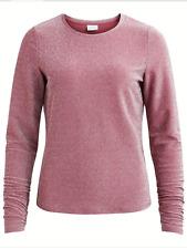 Vila Size XL 16 Clima Long Sleeve T-Shirt TOP Renaissance Rose Sparkly Ruffle