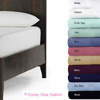 100% EGYPTIAN COTTON FITTED SINGLE DOUBLE KING SUPERKING SHEETS 200 THREAD COUNT