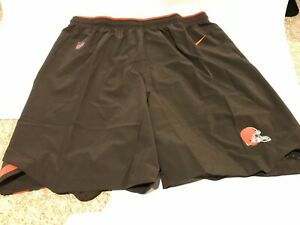 NIKE CLEVELAND BROWNS NFL DRI-FIT MENS BROWN TEAM ISSUE SHORTS SIZE XXL