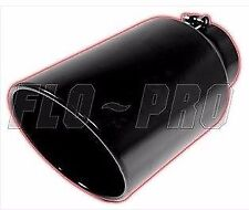 """Flo Pro 15"""" Black Exhaust Tip Rolled Edge Angle Cut 5"""" Inlet 6"""" Outlet"""