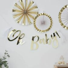 Gold OH Baby Bunting Baby Shower Party Decorations Neutral Gender Reveal Decor