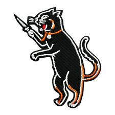 Black Cat with Knife Embroidered Iron on Sew on Patch