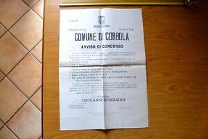 ANTICO MANIFESTO COMUNE CORBOLA AVVISO DI CONCORSO segretario comunale 1872