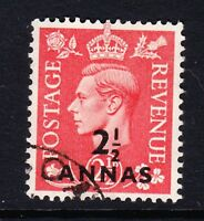 BRITISH POSTAL AGENCIES 1950 2½a ON 2½d PALE SCARLET SG 39 FINE USED.