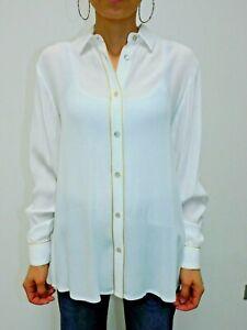 Camicia bianca da donna in viscosa a manica lunga con bordi in oro