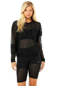 Alo Yoga TACTICAL Long Sleeve Black Size S 8-10 Top Sheer Cover Up Pockets