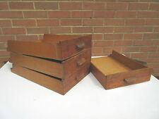 vintage wooden shop haberdashery storage display drawers x 4