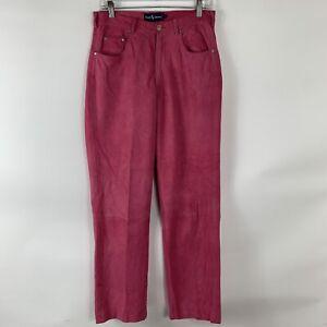 Ralph Lauren Pants Women's 30 Pink 100% Leather Straight Leg Lined High Rise