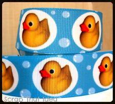 "Rubber Ducky  RIBBON. 7/8"" Grosgrain.  BLUE. Scrapbooking/Craft/Bows. Ducks,Bath"