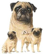 PUG Multi Dogs in 6 in Fabric Squares for Quilting & Sewing