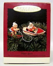 """1995 """" Water Sports """" Set of 2 Hang - Together - Clip-on  Hallmark Ornaments"""