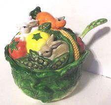 Lettuce Cabbage Spring Easter Soup Tureen w/ Ladle Rabbits & Vegetables