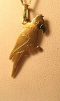 PARROT 14K GOLD MADE IN ITALY MACAW PENDANT 28MM X 11MM VINTAGE
