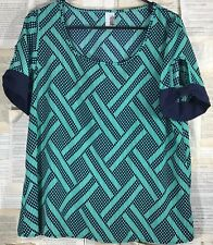 Francesca's Ladies M Navy Blue Patterned Polyester Blouse/Top Career