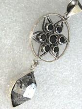 RARITÄT ANHÄNGER 925 Silber Herkimer Diamant ONYX 55x22mm SUPER riesig