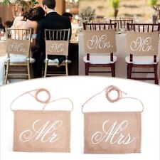 Banners Groom Bride Vintage Decoration Chair Sign Burlap Wedding Mr And Mrs