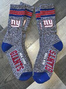 NEW YORK GIANTS NFL FOOTBALL JERSEY LOGO STRIPE CREW MARBLE SOCKS LRG 2 PAIR SET