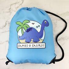 Personalised Kids School, PE/Swim/Gym Bag - Blue Bag with Dinosaur - ANY NAME